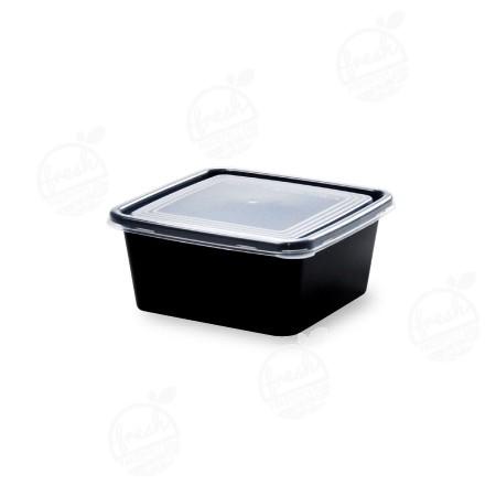 กล่อง PP ดำ พร้อมฝา  470 ml (ห่อ)