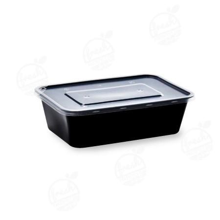 กล่องอาหาร PP ดำ พร้อมฝา 650 ml (ห่อ)