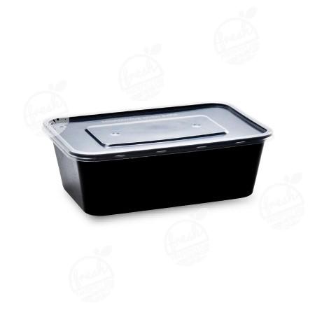 กล่องอาหาร PP ดำ พร้อมฝา 750 ml (ห่อ)