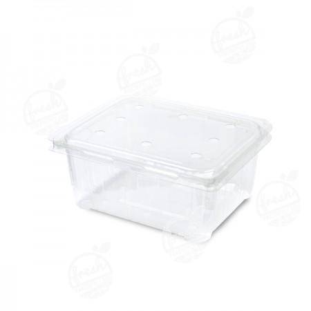 กล่องพลาสติกใส่ผลไม้ PET 1000 ml ฝาเจาะรู (ห่อ)
