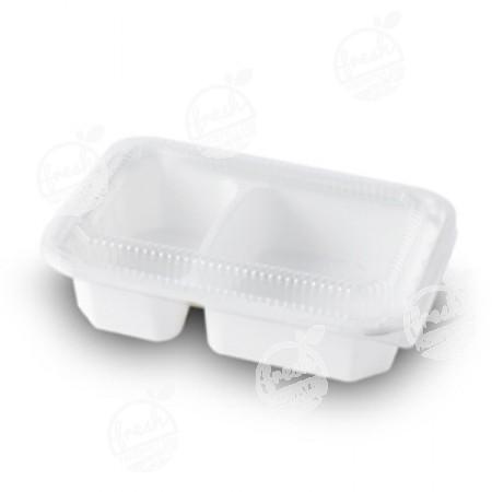 กล่องไฮบริดเยื่อธรรมชาติเฟสท์ 2 ช่อง 600 ml. HM002(ห่อ)