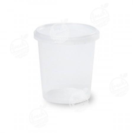 กล่องกลม PP ใส เซฟตี้ซีล 335 ml+ฝา(ห่อ)