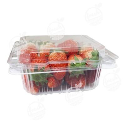 กล่องพลาสติกใส่ผลไม้ PET 250 ml ฝา+รูระบายอากาศด้านข้าง (ห่อ)