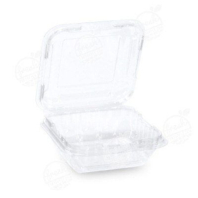 กล่องพลาสติกใส่ผลไม้ PET 125 ml ฝา+รูระบายอากาศด้านข้าง (ห่อ)