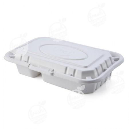 กล่องเยื่อธรรมชาติเฟสท์ 2 ช่อง ฝาในตัว 950 ml. B002 (ห่อ)
