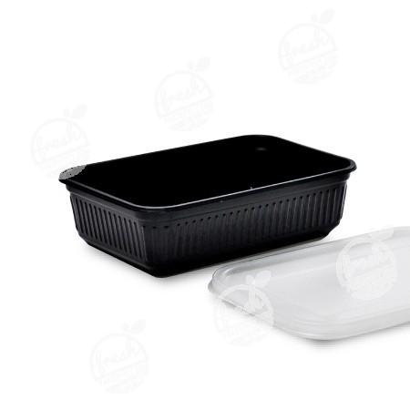 กล่อง PP ดำ พร้อมฝา 650 ml (ห่อ@25)