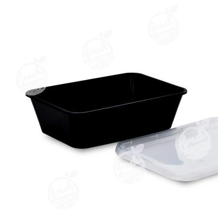กล่อง PP ดำ พร้อมฝา  650 ml (ห่อ)