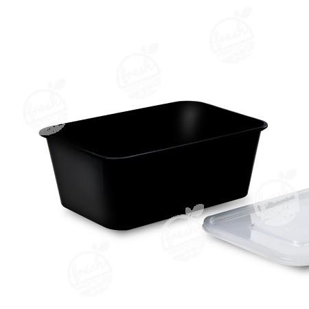กล่องอาหาร PP ดำ พร้อมฝา 1000 ml (ห่อ)