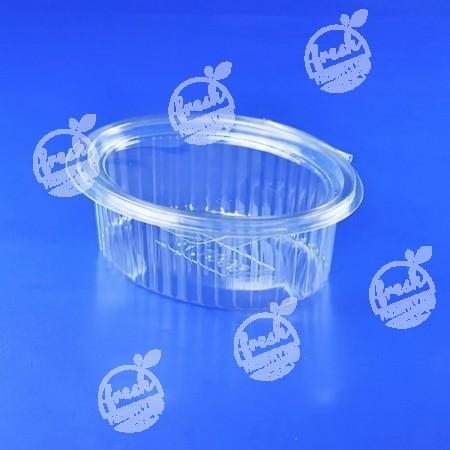 กล่องสลัดวงรี PET ใส (M1000) ฝาในตัว (ห่อ@100)