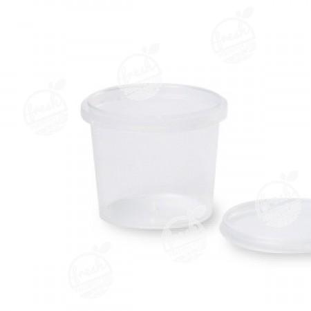 กล่องกลม PP ใส เซฟตี้ซีล 265 ml+ฝา(ห่อ)