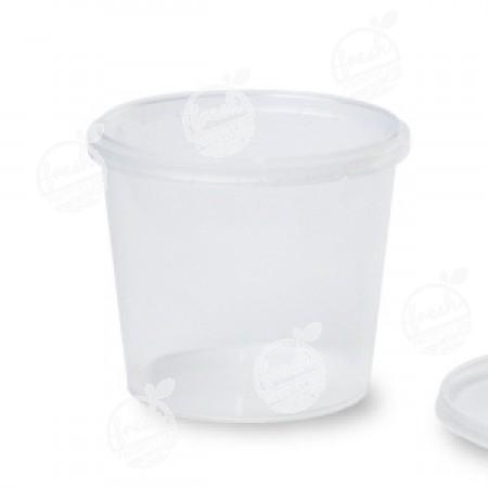 กล่องกลม PP ใส เซฟตี้ซีล 750 ml+ฝา(ห่อ)